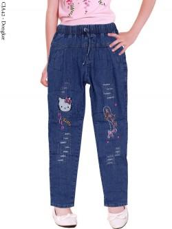 CJA42 Celana Jeans Anak Bordir Hellokitty