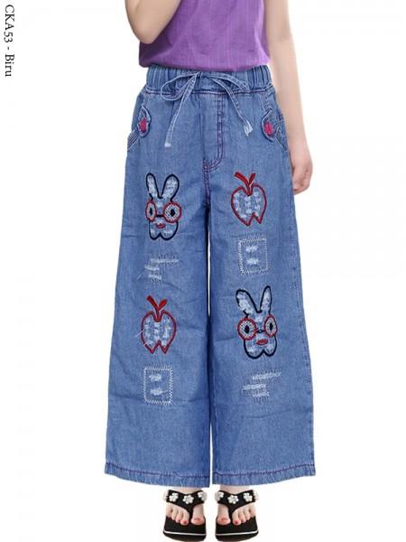 CKA53 Celana Kulot Jeans Anak Bordir Rabbit