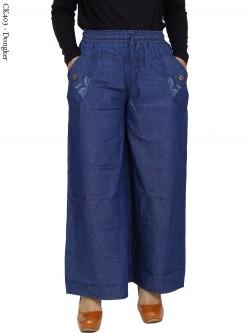 CK403 Celana Kulot Jeans List Motif