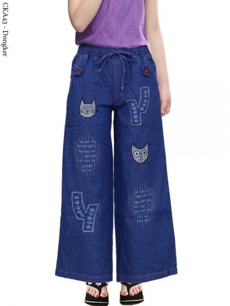 CKA43 Celana Kulot Jeans Anak Bordir Kucing