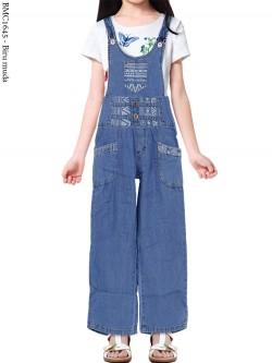 BMC1645 (16-20) Overall Jeans Anak Kulot List Motif