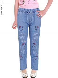 CJA52 Celana Jeans Anak Bordir Hellokitty