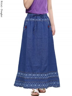 RA245 Rok Jeans Anak Tanggung List Motif 6-10th