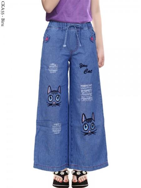 CKA55 Celana Kulot Jeans Anak Bordir Kucing