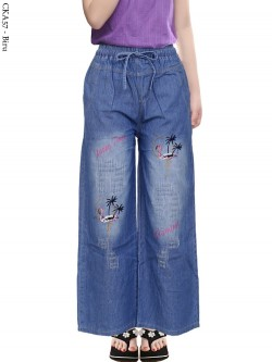 CKA57 elana Kulot Jeans Anak Bordir Flamingo
