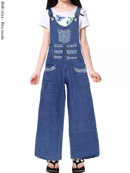 BMC1634 (16-20) Overall Jeans Anak Kulot List Motif