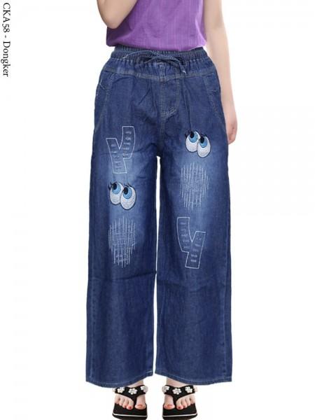 CKA58 Celana Kulot Jeans Anak Bordir