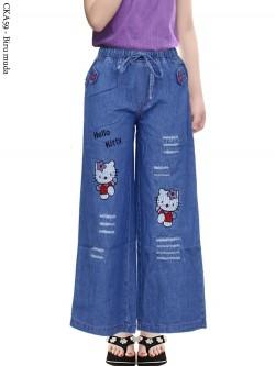 CKA59 Celana Kulot Jeans Anak Bordir Hellokitty