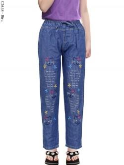 CJA58 Celana Jeans Anak Bordir Hellokitty
