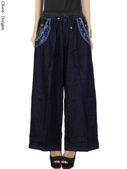 CK406 Celana Kulot Jeans List Motif