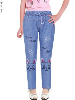 CJA59 Celana Jeans Anak Bordir Kucing