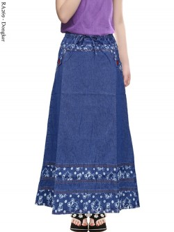 RA269 Rok Jeans Anak Tanggung List Motif 6-11th
