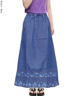 RA271 Rok Jeans Anak Tanggung List Motif 6-11th