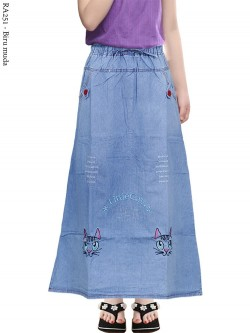 RA251 Rok Jeans Anak Tanggung Bordir 6-10th