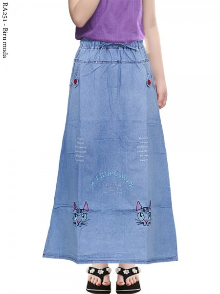 RA251 Rok Jeans Anak Tanggung Bordir 6-10th