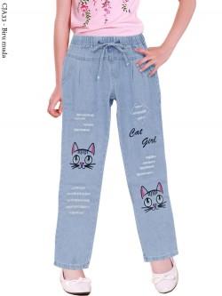 CJA33 Celana Jeans Anak Bordir Kucing