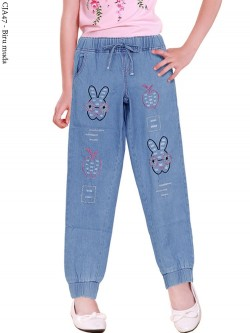 CJA47 Celana Jogger Jeans Anak Bordir Rabbit