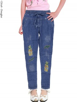CJA48 Celana Jeans Anak Bordir Pineapple