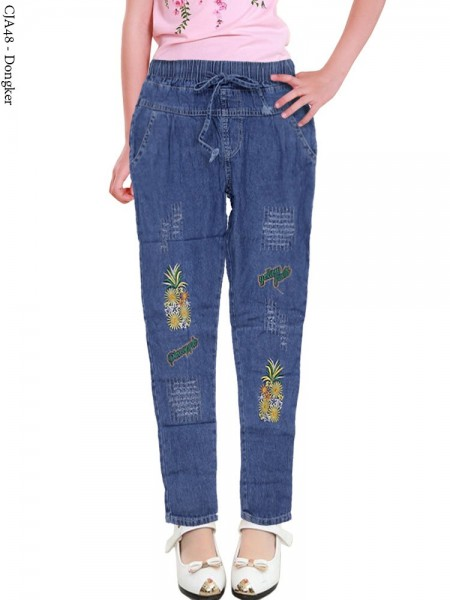 CJA48 Celana Jeans Anak Bordir Pineapple