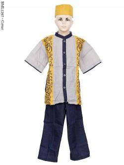 BML1297 (7-12) Baju Koko Anak Dennim Bordir