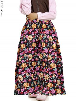 RA210 Rok Anak Katun Linen Umbrella Bunga