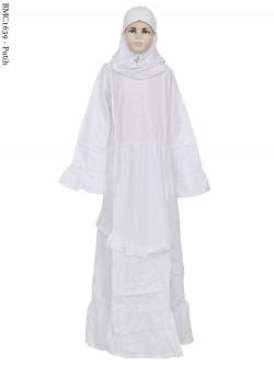 BMC1639 (all-size) Gamis Anak Katun Putih Senada