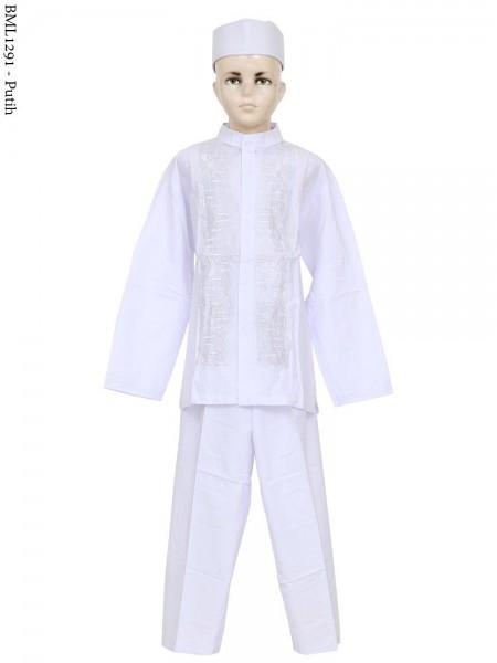BML1291 (7-12) Gamis Koko Anak bordir putih