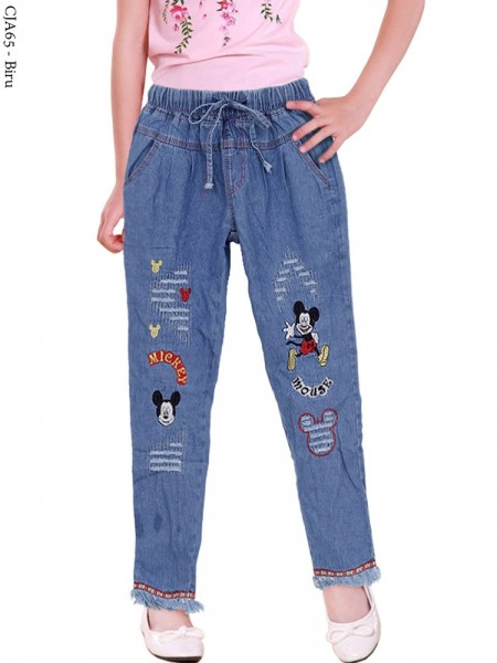 CJA65 Celana Jeans Anak Bordir Micky Rawis