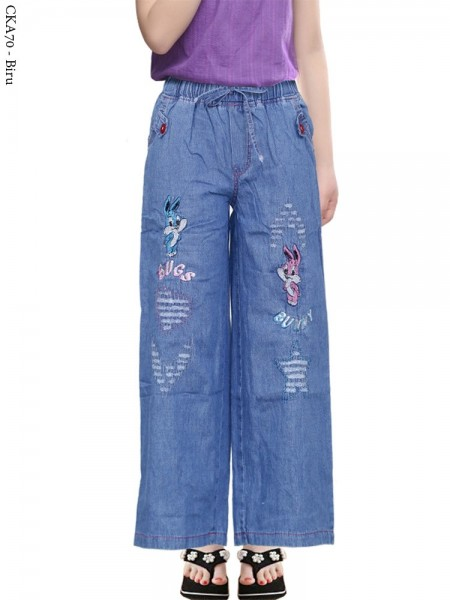 CKA70 Celana Kulot Jeans Anak Bordir kucing