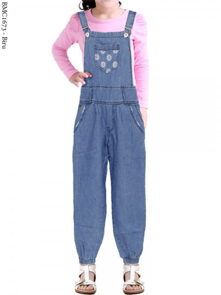 BMC1673 Overall Jeans Anak Jogger Motif