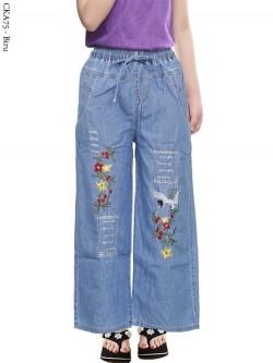 CKA75 Celana Kulot Jeans Anak Bordir Bunga