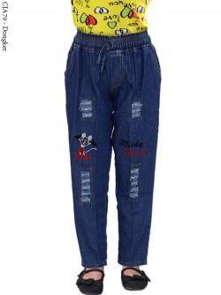 CJA70 Celana Jeans Anak Bordir Mickymouse
