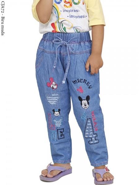 CJA72 (18-22) Celana Jeans Anak Bordir Mickymouse
