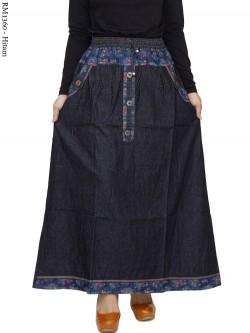 RM1360 Rok Jeans List motif Bunga Kancing