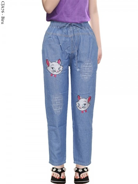 CJA76 Celana Anak Bordir Kepala Kucing