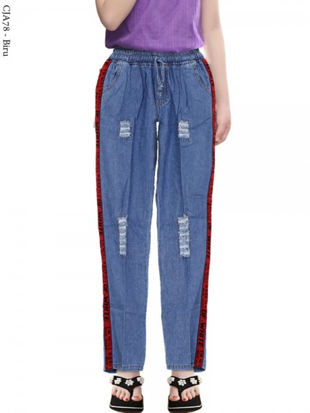 CJA78 Celana Pencil Jeans Anak List Pita