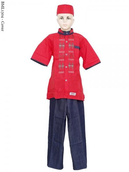 BML1304 (7-12) Baju Koko Anak Dennim Bordir