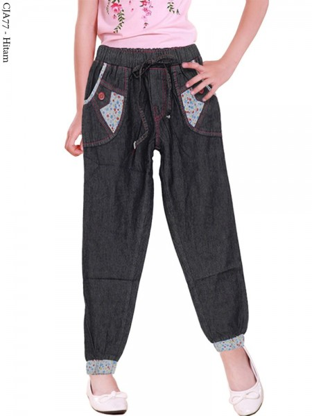 CJA77 Celana Jogger Jeans Anak List Bunga