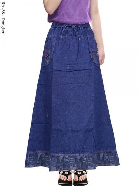 RA288 Rok Jeans Anak Tanggung List motif 6-11th