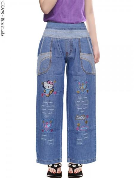 CKA79 Celana Kulot Jeans Anak Bordir hellokitty