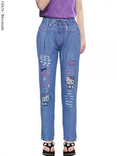 CJA79 Celana Jeans Anak Bordir Hellokitty