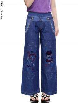 CKA83 Celana Kulot Jeans Anak Bordir