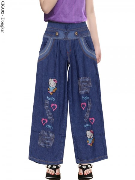 CKA82 Celana Kulot Jeans Anak Bordir