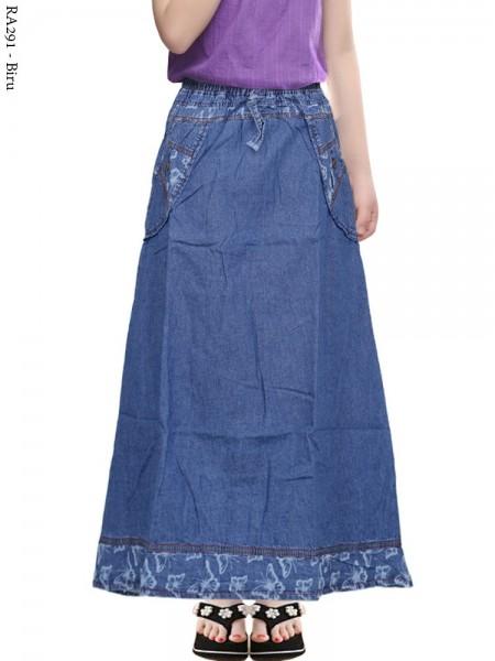 RA291 Rok Jeans Anak Tanggung List Motif 8-12th