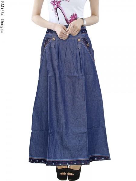 RM1364 Rok Jeans panjang List Bunga