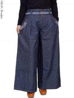 CK350 Celana Kulot Jumbo Jeans Resleting