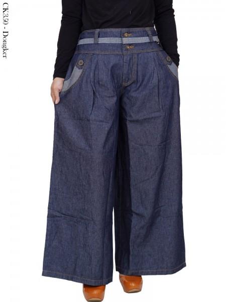 CK350 Celana Kulot Jumbo Jeans Liat Polos