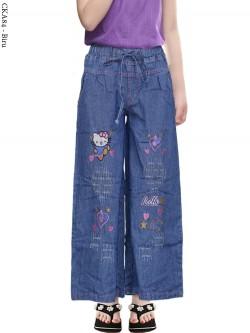 CKA84 Celana Kulot Jeans Anak Bordir hellokitty
