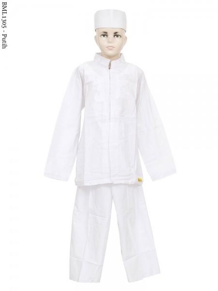 BML1305 (7-12) Baju Koko Anak Katun Putih Bordir
