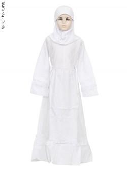 BMC1684 (7-12) Gamis Anak Katun Putih Senada